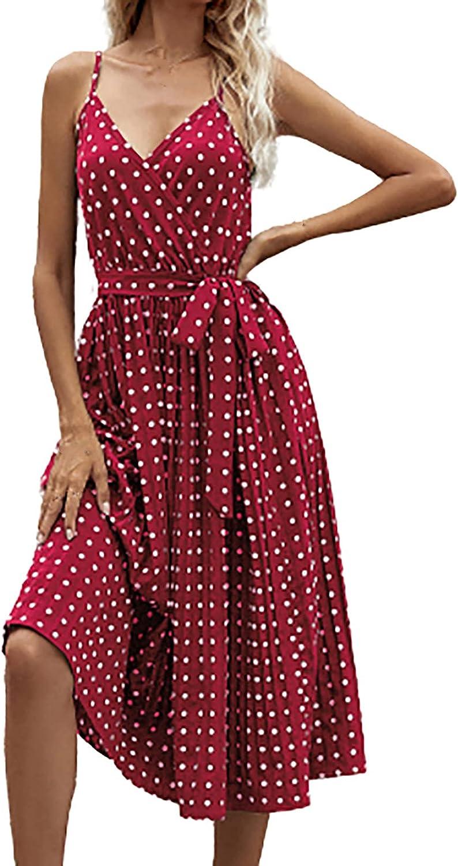 Women Summer Dresses Casual V-Neck Dot Print Midi Dress Spaghetti Strap A-Line Swing Sundress Dress