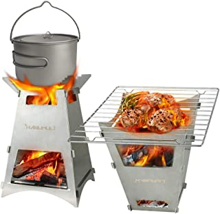 Firepit Wood Burning Camping Stove Portable Backpacking Stoves Fire Bellows Lightweight Stainless Steel Grill