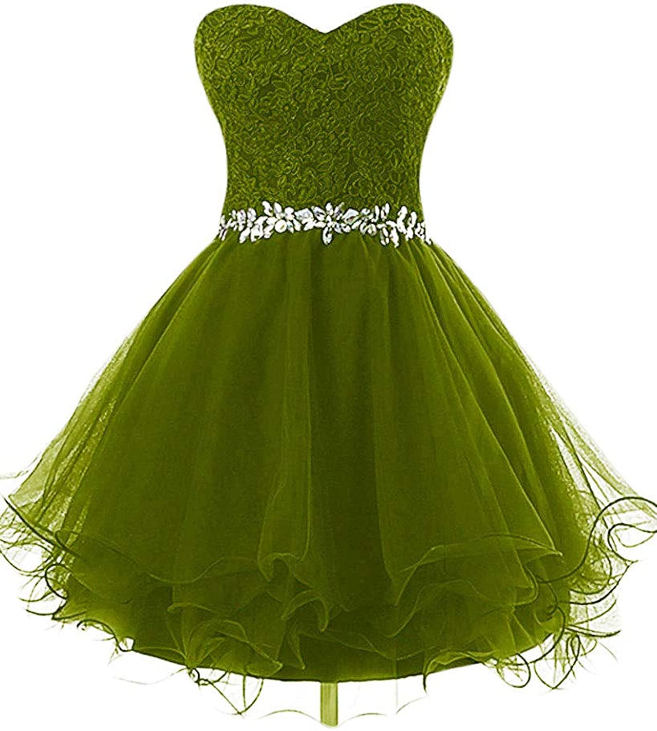 DINGZAN Gorgeous Lace and Tulle Gala Ball Bridesmaid Dresses Short