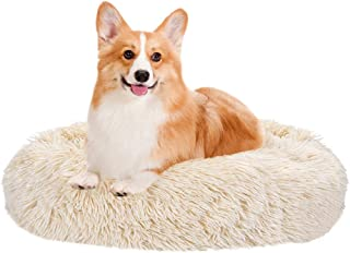 SlowTon Pet Calming Bed, Donut Cuddler Nest Warm Soft Plush Dog Cat Cushion with Cozy Sponge Non-Slip Bottom for Small Med...