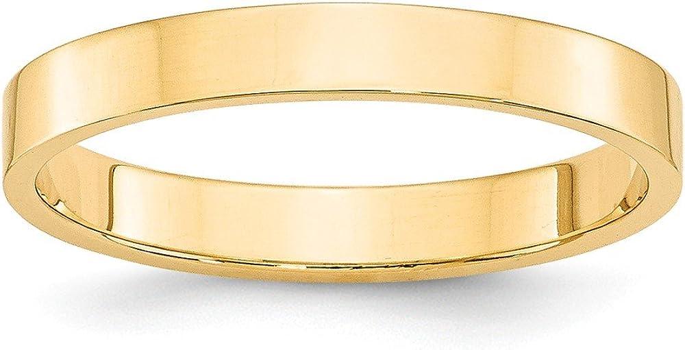 爆売り Solid 14k Yellow Gold Band Wedding Flat 3mm ※アウトレット品