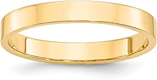 14k Yellow Gold 3mm Flat Wedding Ring Band Size 11 Classic Fine Jewelry Gifts For Women For Her