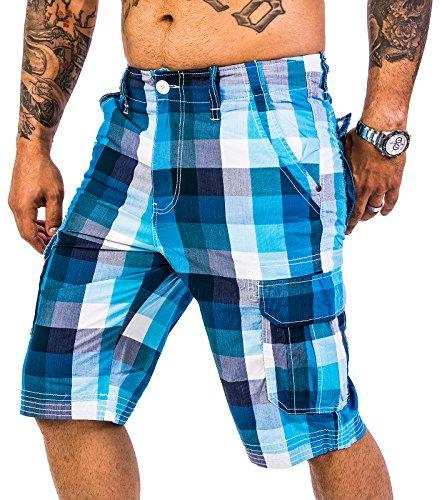 Rock Creek Herren Karoshorts Bermuda Hose CAGO-Shorts Sommer Hose kurz Shorts Herrenshorts H-158 S SkyBlue2