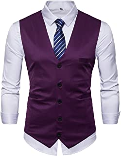 MU2M Men Slim Fit Skinny Wedding Waistcoat Suit Vest Jacket