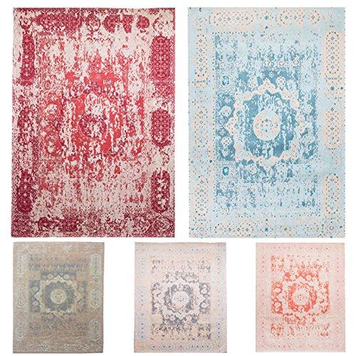 Mogenland Vintage Desginer Teppich LAGUNE Blau Modern Kurzflor Handgearbeitet 140 x 70 cm