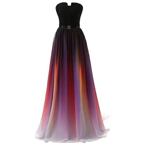0d8278e0f4b Dormencir Women s Gradient Colorful Chiffon Long Formal Evening Prom Dresses