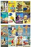 Decoupage Papier Pack Caribbean and Europe Vintage Travel Poster FLONZ