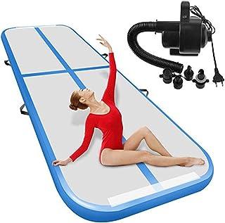 10ft / 13ft uppblåsbar gymnastisk matta, luftmatta med elektrisk pump, bärbar luftgolvspår för övning gymnastik Yoga cheer...