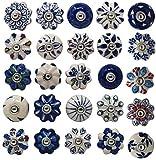 Set di 25 pomelli in ceramica colorati blu per armadi da cucina, credenze, cassettiere e cassettiere fatte a mano in ceramica