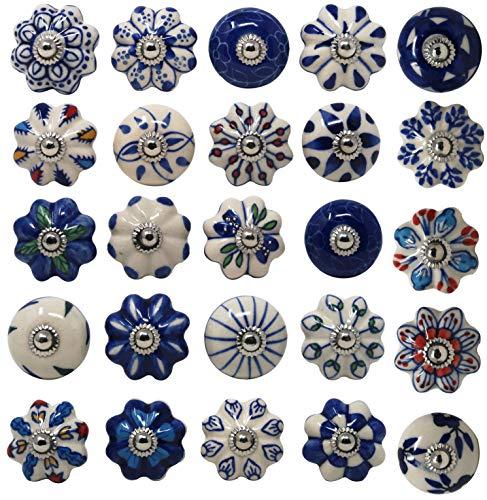 Ajuny Set di 25 pomelli in ceramica colorati blu per armadietti da cucina, armadietti da bagno, cassettiera, cassettiera, cassettiera, ceramica fatti a mano, colore: blu