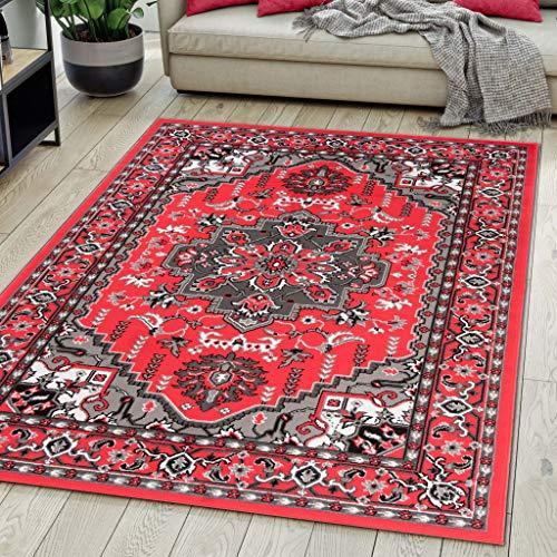 Carpeto Rugs Teppich Orientalisch Rot Klassisch Muster Kurzflor Öko-Tex Wohnzimmer 140 x 200 cm