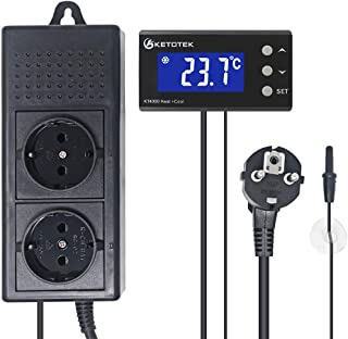 KETOTEK Digital Controladores de termostato 220V Termostato Sensor NTC LED Pecera Reptiles Planta de semillero Germinación Fabricación de cerveza Fermentación Refrigeración calefacción (220V)