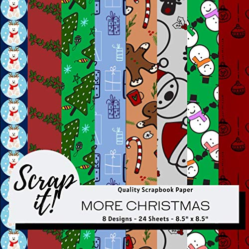 """Scrap It! More Christmas Scrapbook Paper Pad - Multicoloured - 8.5"""" x 8.5"""" - 8 Designs - 24 Pages: Versatile craft paper perfect for Scrap Books, ... Origami, Decoupage, Collages and more!"""