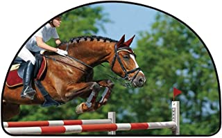 YOLIYANA Horse Decor Semi Circle Mat,Young Woman Jumping with Bay Horse Competition Hurdle Obstacle Training Mare Carpet Indoor Mat,15.7