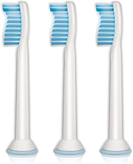Genuine Philips Sonicare Sensitive replacement toothbrush heads for sensitive teeth, HX6053/64, 3-pk