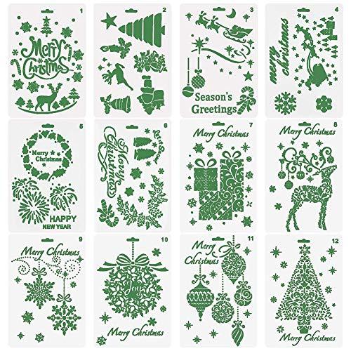 Plantillas de Navidad para manualidades, 12 unidades, diseño de Navidad,Papá Noel,árbol de Navidad,copos de nieve,bombillas,renos para tarjetas, bricolaje,manualidades,proyectos de manualidades