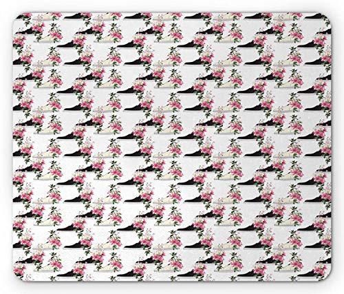 Bloemen Muis Pad, Mode Bloemen Sneakers als Pots op Plain Achtergrond, Rechthoek Antislip Rubber Mousepad muismat Multi kleuren