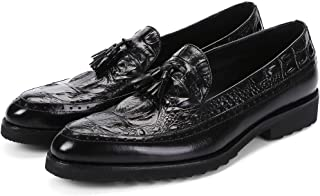 Crocodile Textured Minimalist Fringed Oxfords Shoes Formal Shoes (Color : Black, Size : 41)