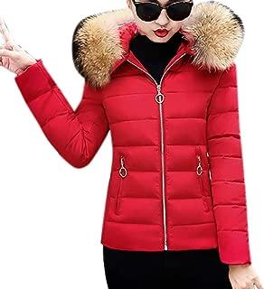 ThePass Womens Down Jackets Slim Hooded Fur Collar Winter Warm Short Cotton-Padded Coats