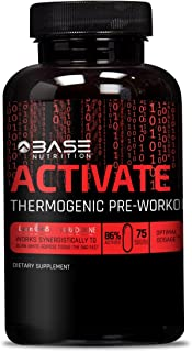 BASE ACTIVATE Pre Workout Supplement Pills for Men & Women - Thermogenic Preworkout Pills that Increase Strength, Energy & Weight Loss - 75 Capsules