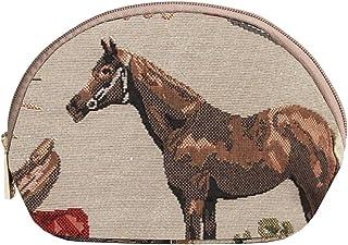 Signare Tapestry Women's Tan Travel Cosmetic Bag Make-up Brush Bag in Horse Design (COSM-HOR)