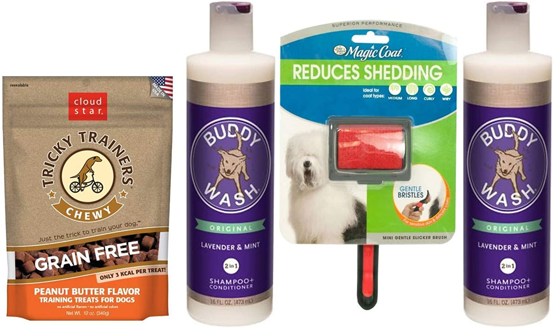 Cloud Star Buddy Wash DogShampoo & Conditioner Lavender Mint 2 Bottles 1 Dog Brush 1 Bag Dog Treat