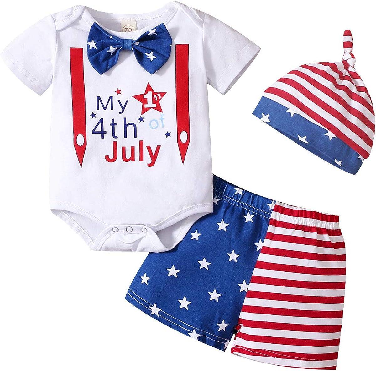 Baby Boy 3Pcs 4th of July Outfits Set Shorts Sets Cartoon Romper Shirt+USA Flag Shorts+ Stripe Hat