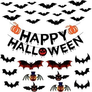 JOLLY SWEETS Happy Halloween Banner Set with Scary Bat Stickers 28Pcs, Pumpkin Sign Designed with Ghost, with Scary 3D Bat...