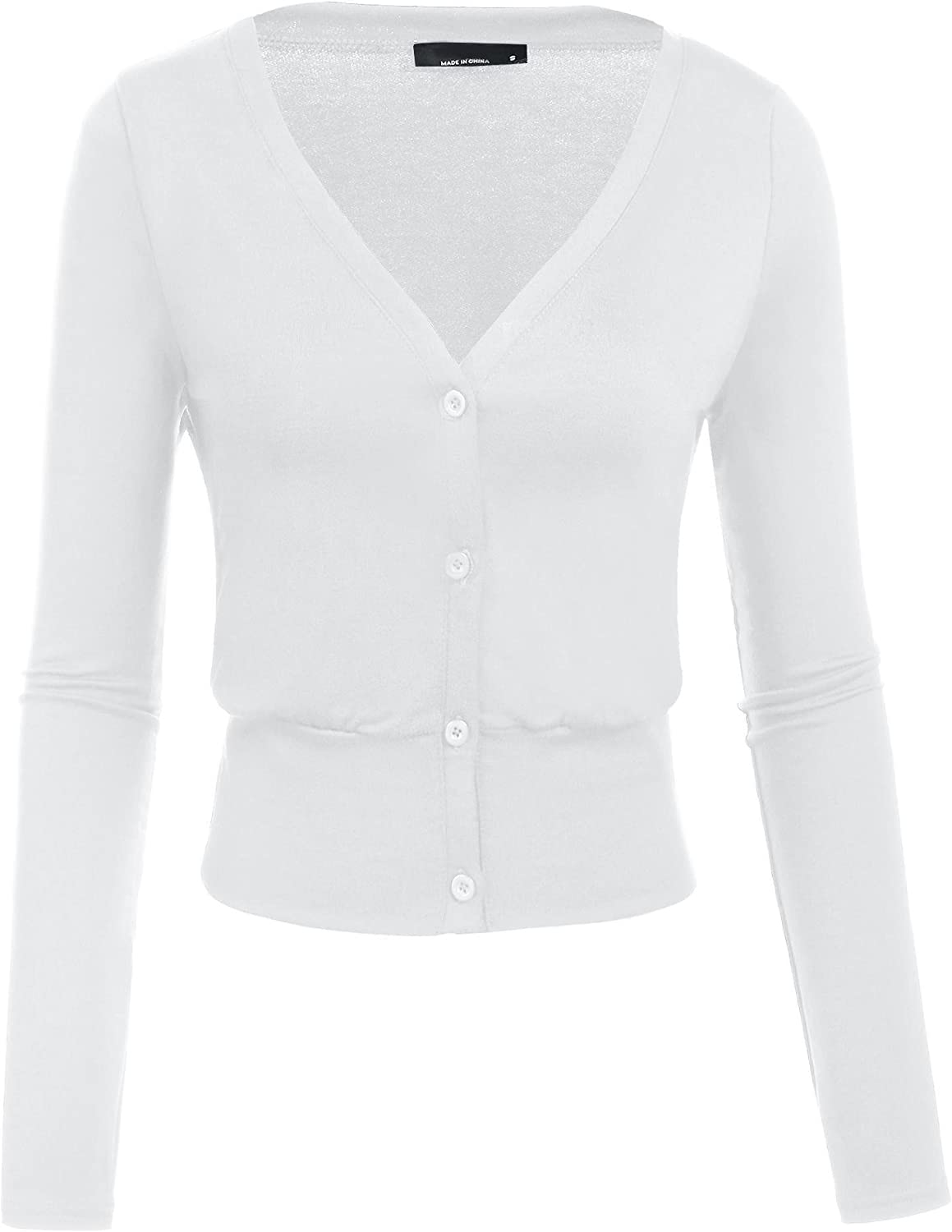 Showyoo Womens V-neck Cropped Cardigan Long Sleeve Button Down Knitted Shrug Sweater