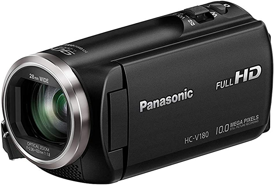 Panasonic HC-V180 - Videocámara de 50x O.I.S de 5 Ejes F1.8 - F4.2 Zoom 28 mm - 174 mm HD SD Time - Lapse Zoom 90x Inteligente Color Negro