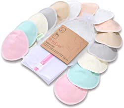 Organic Bamboo Nursing Breast Pads - 14 Washable Pads + Wash Bag - Breastfeeding Nipple Pad for Maternity - Reusable Nipplecovers for Breast Feeding (Pastel Touch, Large 4.8 inches)