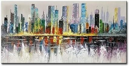 لوحات زيتية من SANSNMI على قماش يدوي الصنع صور فنية لغرفة مذهلة منظر للمدينة لوحات فنية لتزيين الفندق بدون إطار, 140x280cm...