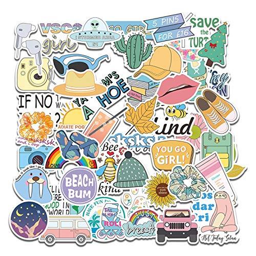 WYZNB 50 unids lindo pequeño fresco DIY pegatinas impermeable papelería cuaderno decoración mano cuenta dibujos animados vinilo pegatinas