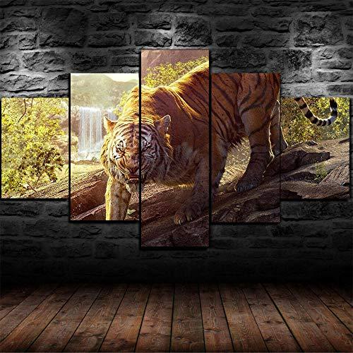 FGHJKOO Vlies Leinwandbild 5 Teilig Kunstdruck modern Wandbilder XXL Wanddekoration Design Wand Bild-- König des Dschungels. Unterer Hügel Tiger-100x55cm