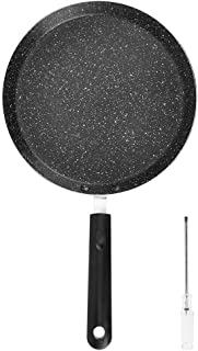 Household Pan Aluminum Alloy Non‑Stick Flat Bottom Frying Pan Cookware Kitchen Accessory Black 9.4in Pan Diameter