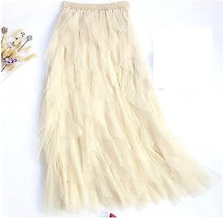ZJMIYJ Kjolar för kvinnor - veckad oregelbundet Midi lång skiktad kjol mode hög midja tyll kjol nät tutu kjolar vår damklä...