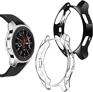 Goton Compatible Samsung Galaxy Watch 46mm Case 2018 (for SM-R805 / SM-R800 /Gear S3 Frontier SM-R760), [ 2 Color Packs ] Soft TPU Smart Shockproof Case Cover Bumper Protector (Clear + Black, 46mm)