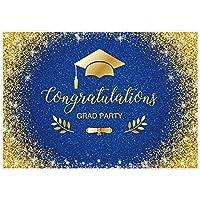 GooEoo 7x5ftゴールドとロイヤルブルー卒業クラスの背景おめでとうお祝いパーティーバナーグリッターブース小道具家族パーティー誕生日の背景ベビーシャワービニール素材