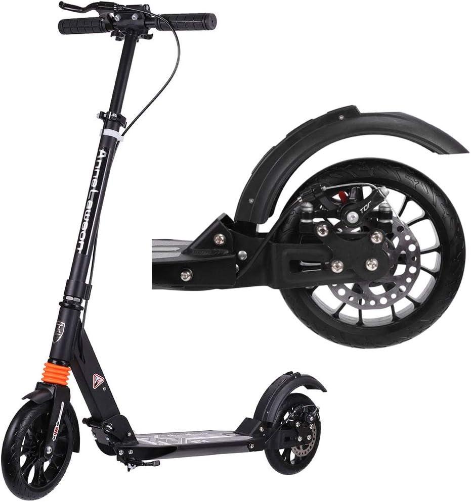 Q&Z Adulto Scooter,Plegable City Patinete Ajustable En Altura Desde 80Cm hasta 108Cm con Freno De Mano Y Freno De Pie para Adulto NiñO Soporta 100 Kg(220lbs) De Peso
