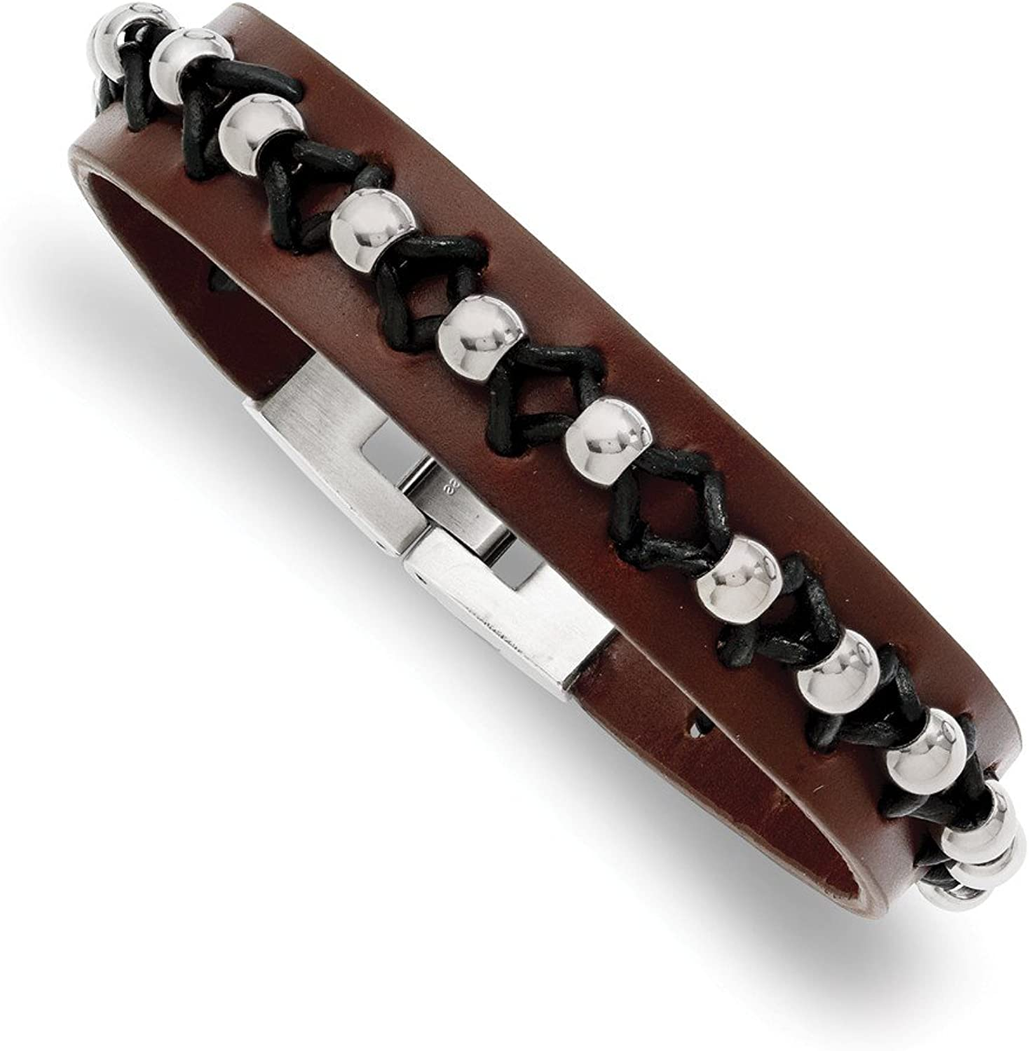 Beautiful Stainless Steel Brown Leather with Polished Beads Bracelet