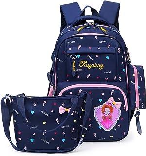 Fanci 3Pcs Heart Bowknot Princess Style Elementary Kids School Backpack Bookbag Set for Teens Girls School Bag with Handbag