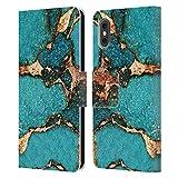 Head Case Designs Licenza Ufficiale Monika Strigel Turchese Gemme E Oro Cover in Pelle a Portafoglio Compatibile con Apple iPhone X/iPhone XS