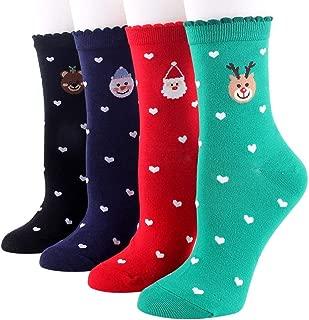 4 Pairs Christmas Knee Socks Thermal Cotton Crew Socks Warm Novelty Socks