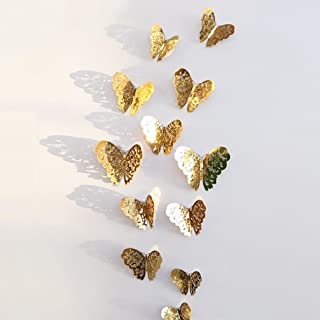 Vacally 12pcs 3D Wall Stickers Wallpaper Butterfly Design Fridge Decal Art Living Room Bedroom Background Home Decor