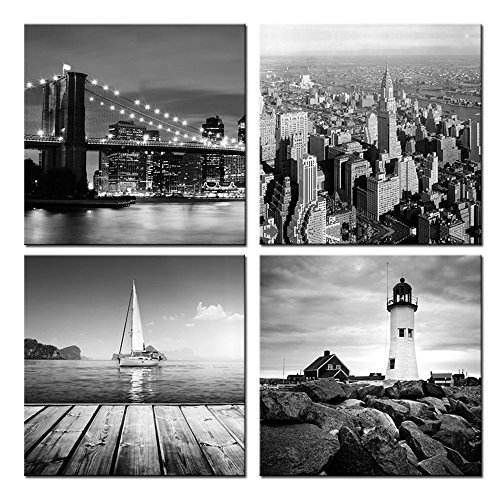 Sea Charm - New York City Canvas Print,Black and White Brooklyn Bridge,Empire State Building,Seascape Lighthouse Pictures Giclee Print on Canvas,Landscape Canvas Wall Art Ready to Hang