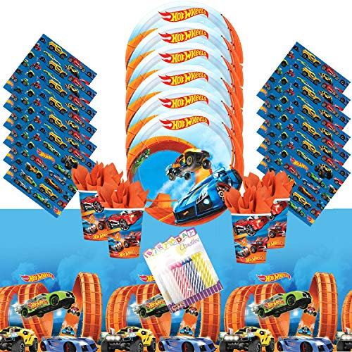 Hot Wheels Wild Racer Party Supplies Pack Serves 16: Dessert Plates Beverage Napkins Cups and Table Cover with Birthday Candles (Bundle for 16)