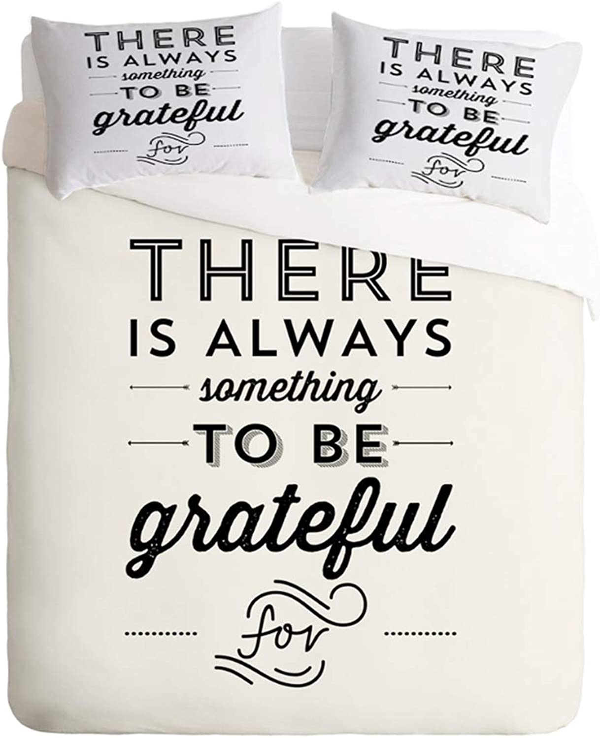 Homebed Quote Duvet Cover Set King Size, Grateful Phrase Wisdom Words Zen, Decorative 3 Piece Bedding Set with 2 Pillow Shams,No Comforter