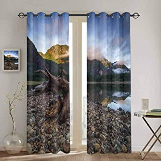 DONEECKL Driftwood Extra Long Curtain Landscape of a Mountain Lake and Cloudy Sky Driftwood on Rocky Shoreline Soundproof Shade W52 x L84 Inch Blue and Brown