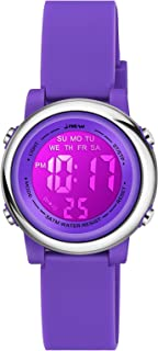Venhoo Kids Watches 7 Colors Lights Outdoor Sports Waterproof Silicone Children Digital Toddler Wrist Watch for Little Girls Boys Child with Luminous Alarm Stopwatch-Deep Purple