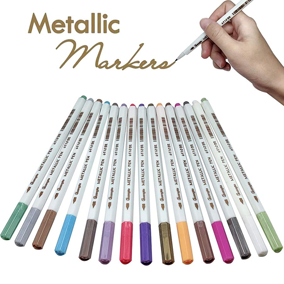 15 Color Metallic Pens Paint Markers for Birthday Gift Card DIY Exploding Box Photo Album Scrapbook Valentines Day Cards (Metallic Pens)
